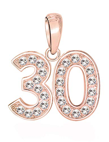 30 Charm - S925 Sterling Silver Bead with Rose Gold fits Pandora Charm Bracelets for Women - Happy 30th Birthday