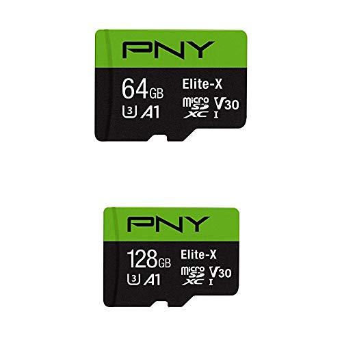 PNY 64GB Elite-X Class 10 U3 V30 MicroSDXC Flash Memory Card with PNY Elite-X Micro SD 128GB, U3, V30, A1, Class 10