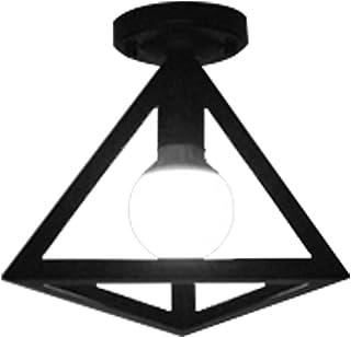 KEISL Retro Lámpara de techo de interior,Lámpara de techo,Luz de techo geométrica,Metal del Luz de Techo al ras ligero para pasillo,Negro Moderno techo colgante (Triángulo)