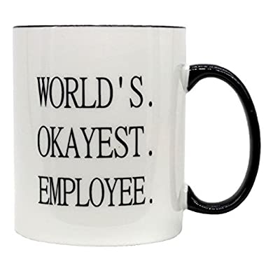 FUNNY MUG-Worlds Okayest Employee-11 OZ ceramic Coffee Mugs-Funny Inspirational and sarcasm gifts