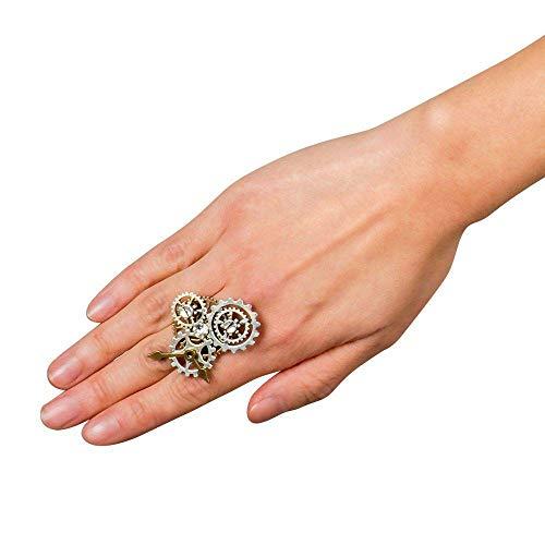 Boland 54533 - Ring Steampunk, verstellbare Größe, Silber-Kupfer, Zink, Eisen, Acryl, Zahnräder, Strass, Fingerring, Accessoire, Kostüm, Verkleidung, Karneval, Fasching, Mottoparty