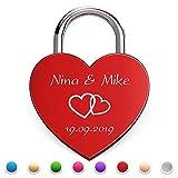Herz Liebesschloss mit gratis Gravur und Schlüssel Hochzeit (Rot)