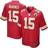 WOPOO Camiseta de fútbol americano de Kansas City Chiefs Patrick Mahomes # 15, para niño, de secado rápido, transpirable, color rojo