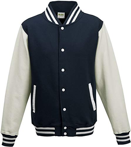 ShirtInstyle College Jacke Jacket Retro Style XXL,NavyWeiss