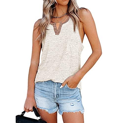 SLYZ Señoras De Verano Sin Mangas Sueltas Casual Impreso Bolsillo Botón Chaleco Camiseta Top De Mujer