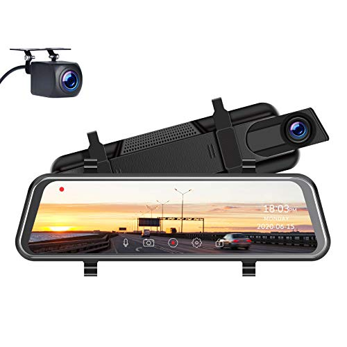 "TOGUARD Mirror Dash Cam, Upgraded 10"" Dual 1080P FHD Car Camera Dash Cam Front and Rear with Waterproof Backup Camera, IPS Full Touch Screen Video Streaming Rear View Mirror Camera Parking Assistance"