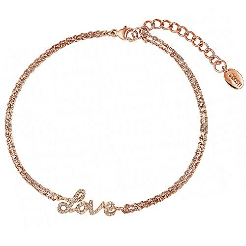 DOOSTI Pulsera Love de plata 925 chapada en oro rosa