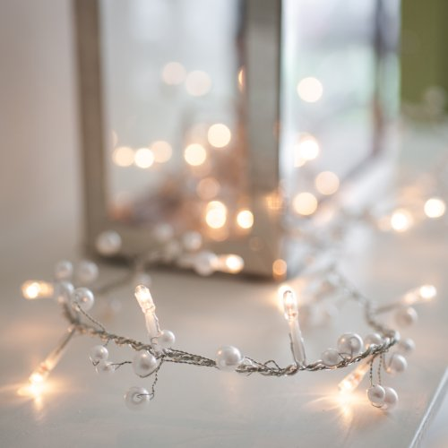 Lights4fun 30er LED Perlen Lichterkette warmweiß