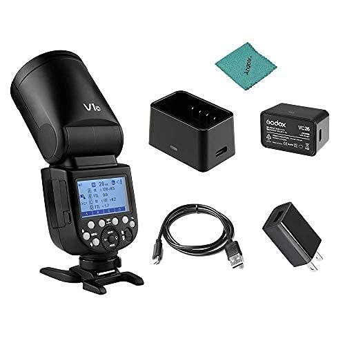 【Godox正規品&技適マーク】Godox V1C フラッシュストロボ TTLラウンドヘッドフラッシュ 1 / 8000s 2.4G ワイヤレスXシステム 480回フルパワーフラッシュ 2600mAhリチウム電池 ラウンドヘッド フレネルズーム キヤノンキヤノンEOSシリーズ1DX、5DマークII、5DマークII、6D、7D、60D、50D、1100D、1000D、5DマークIV、7DマークII、6DマークII、760D、750D、70D、80D、800D、77D、M5、M3、M50対応