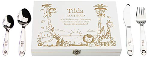 LAUBLUST Kinderbesteck mit Gravur - Personalisierte Geschenkbox | Dschungel Motiv - Geschenk für Kinder
