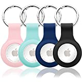 ZryXal [4 Pack] Protective Case for AirTag Phone Finder 2021, Soft Silicone Tracker Holder with Anti-Lost Keychain, Finder Items for Dogs Keys Backpacks (Pink & Mint Green & Dark Blue & Black)