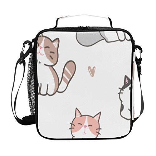 Fiambrera para mujeres de dibujos animados inteligente lindo animal mascota gato nevera fiambrera con correa de hombro ajustable y múltiples bolsillos Fiambreras de paquetes