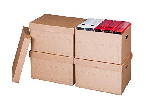 Smartbox Pro Archiv-Multibox und Automatikboden Ablagebox mit Deckel, 10-er Pack, braun