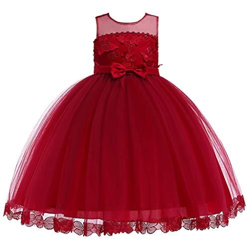 VJGOAL Mädchen Kleider, Kind Baby Süß Ärmellos Prinzessin Tutu Schmetterling Stickerei Mesh Spitze Kleiden Party Dresses for Girl 100-150(Rot,150)