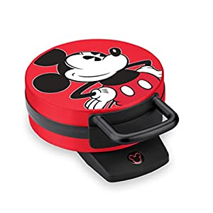 """Bakes One 6"""" Mickey Mouse Character Waffle Illuminated Mickey Power Light Nonstick Cooking Plates Non-skid Rubber Feet 800 Watts; 1 year warranty"""