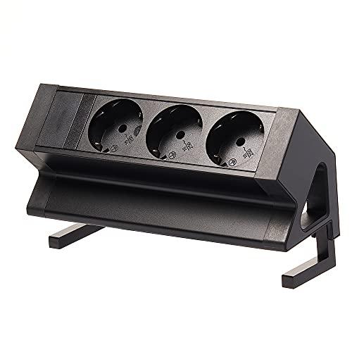 Regleta de 3 enchufes para muebles, color negro, para oficina o cocina, enchufe múltiple, 2 m de cable, montaje sin residuos como enchufe de escritorio