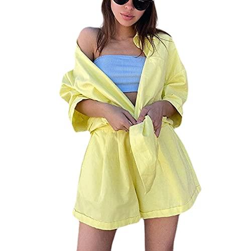 Conjunto de 2 piezas sueltas para mujer, conjunto de camisa de manga corta con botones y pantalones cortos de cintura alta sueltos, amarillo, XL