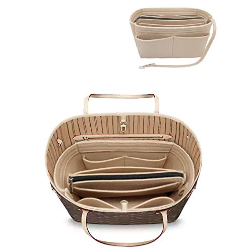 LEXSION Felt Purse Insert Handbag Organizer Bag in Bag Organizer with Handles Holder 8021 Beige M