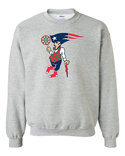 Boston New England Sports Teams Adult Crewneck Sweat Shirt - Cool Novelty Item for Patriots Redsox Celtics and Bruins Fans! Athletic Heather