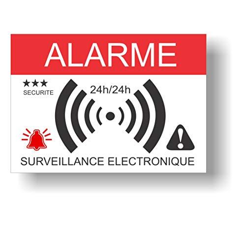Autocollants dissuasifs Alarme - Surveillance électronique - Lot de 12 - Dimensions 14,8 x 10,5 cm