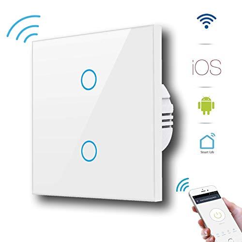 Alexa Smart Lichtschalter, GoKlug Glas Touchscreen-Schalter, WLAN In-Wall gehärtetes kompatible mit Amazon Alexa und Google Home, Überlastungsschutz, Timing-Funktion