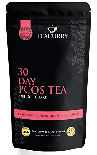 TEACURRY – 30 Day PCOS Tea with Free Diet Chart | 100 Grams of PCOS Tea Leaf | Cures Acne, Facial Hair, Hair Loss, Hormonal Imbalance | PCOS PCOD Tea | Spearmint Tea for PCOS (100 Grams | 100 Cups)