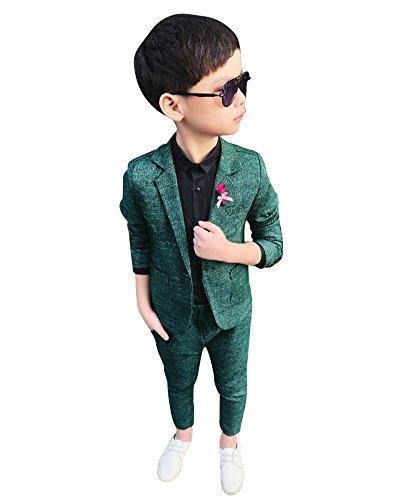 DianShao Jungen 2 Stück Formal Anzug Sets Einfarbig Kinderkleid Festliche Kleidung Hochzeit Grün 130