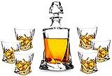 7-Piece Twist Crystal Whiskey Decanter Set. KANARS Premium Liquor Decanter with 6 Old