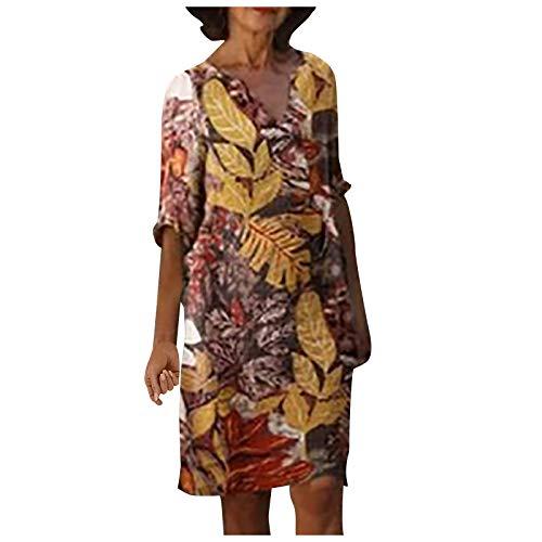TOFOTL Damen Kleid Sommerkleider V-Ausschnitt Freizeitkleider Baumwolle Leinenkleid Blusenkleid Retro Style Print Shirt Lässige Persönlichkeit Loose Mid-Sleeve Kleid(B_rot,L)