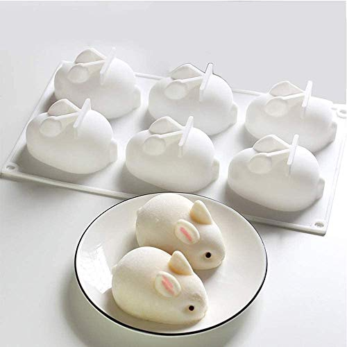 3D Easter Rabbit Bunny Silicone Mold DIY Baking Moulds Bakeware Trays Tool Cake Topper Decorative Cooking Supplies for Chocolate Fondant Candy Candies Ice Cake Decoration(6 Cavity)