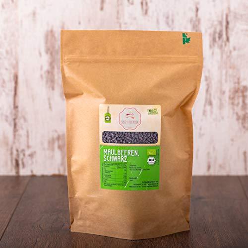 süssundclever.de® Bio Maulbeeren | schwarz | 1 kg | aus Deutschland | Rohkostqualität - 100% naturbelassen | plastikfrei und ökologisch-nachhaltig abgepackt