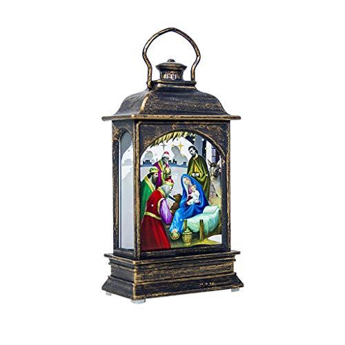 ZODOF Iluminacion navidena con vela LED parpadeante, lampara de mesa y de techo, para interior y exterior, decoracion navidena, metal con ventana de cristal, resistente a la intemperie