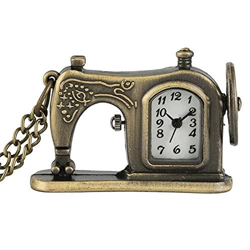 SENFEISM Cómoda máquina de coser antigua reloj de bolsillo de cuarzo retro bronce collar colgante regalos únicos para hombres mujeres