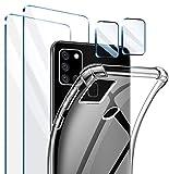 AROYI Handyhülle für Samsung Galaxy A21S Hülle, [2 Stück] Panzerglas + [2 Stück] Kamera Panzerglas Linse Schutzfolie Kompatibel für Galaxy A21S,Transparent TPU Silikon Cover für Samsung Galaxy A21S