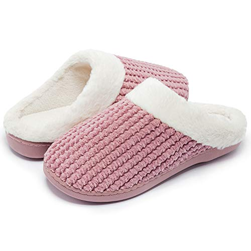 Kuako Zapatillas de Estar por casa con Forro de velln para Mujer Antideslizantes Espuma de Memoria para Interiores Zapatos clidos acogedores de la casa
