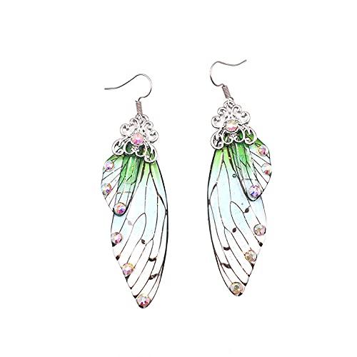 XAOQW Simulación de Hadas ala Pendientes Insecto Mariposa ala Gota Pendientes de Diamantes de Diamantes románticos-Plata-Verde