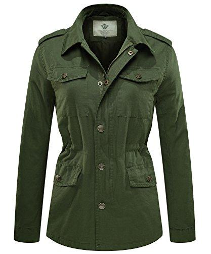 WenVen Giacca Militare Slim Fit in Cotone Giubbotto Casual con Zip Antivento Cappotto Leggera Autunnale Giacchetta Carga Classica Donna Verde Militare 02 L