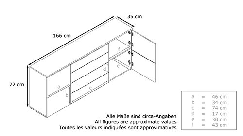 Vladon Sideboard Kommode Rova | In Weiss matt und Sandgrau Hochglanz | 166 x 72 x 35 cm