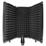 Mic Isolation Shield - Adjustable Portable Studio Acoustic Shield with Absorbing Foam for Microphone, Vocal Booth Mic Reflection Filter for Home Voice Studio to Filter Vocal (3 Panels) YOUSHARES