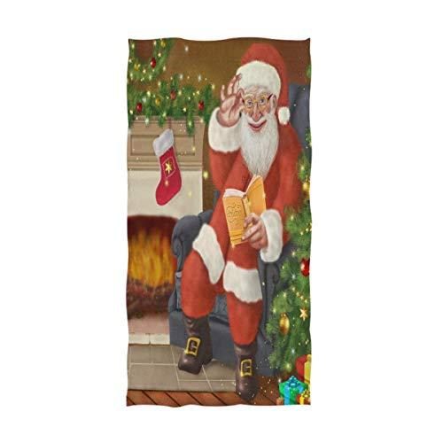 Bert-Collins Bonito Regalo de Papá Noel Toallas de Mano Árbol de Navidad Bola Luz Toalla de baño Toallas de baño Ultra Suaves y Altamente absorbentes para Cara, Gimnasio, SPA (40x70cm)