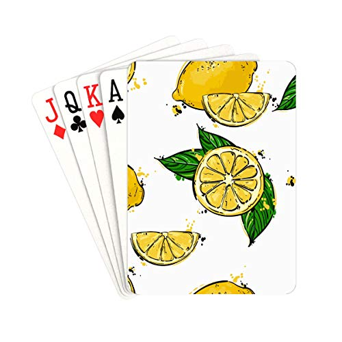 QIAOLII Poker Deck of Cards A Piece of Fresh Juicy Yellow Lemon Poker Deck of Cards Unique for Kids & Adults Card Decks Games Standard Size