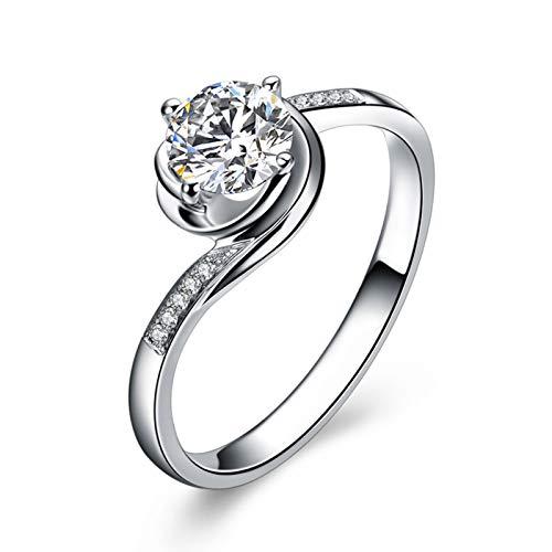 KnSam 18K Oro Blanco Anillo, Anillo de Propuesta Flor Forma Cuatro-Garra, Diamante D-E, Color Plata, Diamante Principal 0.3ct - Talla 26