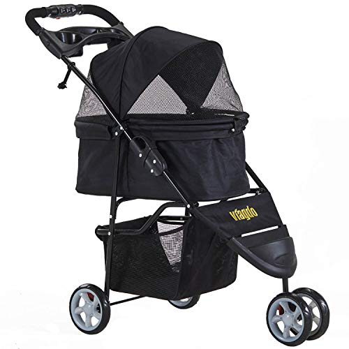 VIAGDO Pet Strollers for Small Medium Dogs & Cats, 3-Wheel Cat Stroller, Foldable Dog Stroller with Removable Liner and Storage Basket for Dog & Cat Traveling Strolling Cart (Black)