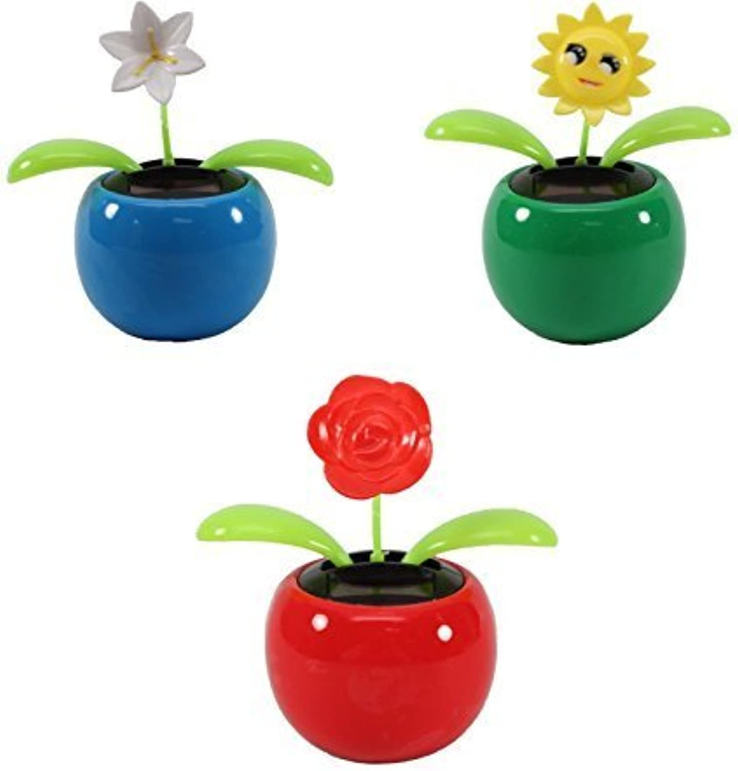 Set of 3 Dancing Flowers  1 Lily+1 Smiley Sunflower+ 1 pink in Assorted colorful Pots Solar Toy Holiday Birthday Gift Home Decor US Seller by KT