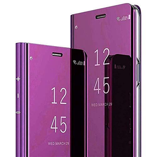Urhause Kompatibel mit Samsung Galaxy Note 10 Hülle Spiegel Fenster Case Leder Handyhülle Magnetverschluss Spiegel Ledertasche Handytasche Durchsichtiges Spiegel Tasche Mirror Clear View Lederhülle