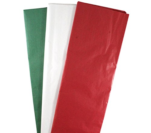 Iconikal Tissue Paper Assortment, 20 x 20-Inch, 50 of each Red, Green and White, 150-Count