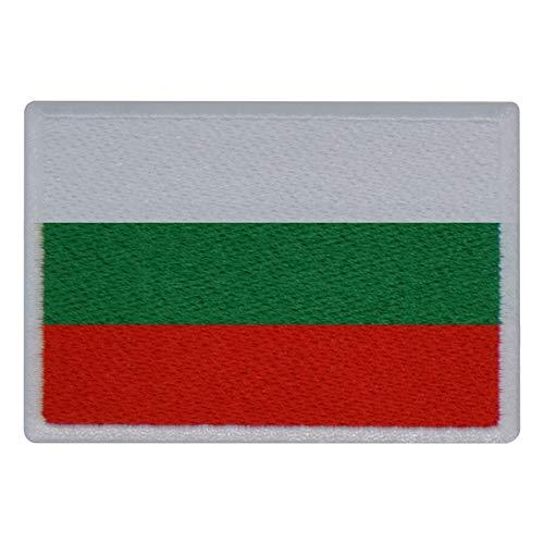 FanShirts4u Aufnäher - BULGARIEN - Fahne - 8 x 5,5cm - Flagge Wappen Bestickt Patch Badge (weiße Umrandung)