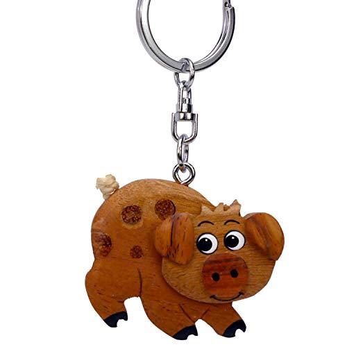 Schwein Schweinchen Sau Glücksschwein Schlüsselanhänger aus Holz