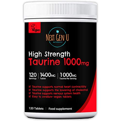 Taurine 1000mg Tablets – 120 High Strength Vegan Taurine Tablets | Promote Optimal Absorption and Assimilation | Supports Nervous System & Visual Functions | Additives Gluten Free