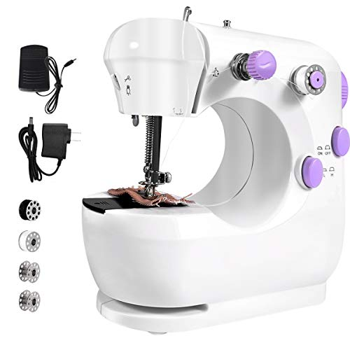 Mini Sewing Machine, Portable Electric Sewing Machine with Stitch Applications & Easy Stitch, Sewing Machine for Beginners and Children,Double Thread and Free Arm, Adjustable 2-Speed with Foot Pedal